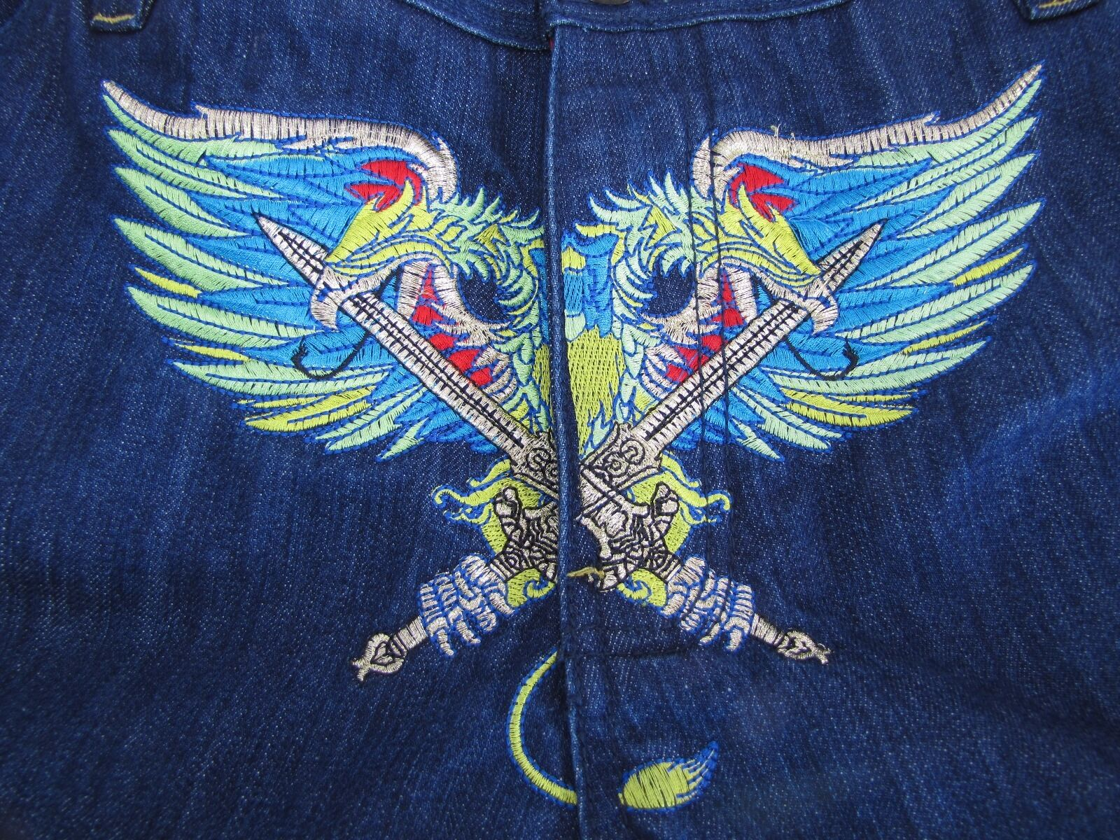 Coogi Jeans Embroidered Baggy Dark colord Dragons Australian Mens 38 33 1 2