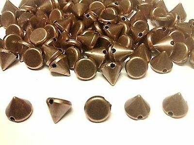 100pcs COPPER Acrylic CONE SPIKE STUDS sew on,stitch on,stick on Embellishments