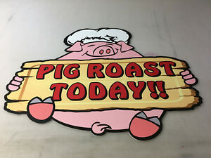 TWO-SAME-SIZE-PIG-ROAST-TODAY-CHEF-PIG-ASSORTED-DIECUT-CORRUGATED-PLASTIC-SIGNS