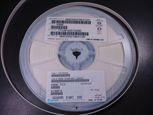 Lot of 25 06035A270KAT2A Kyocera Ceramic Capacitor 27pF 10/% 50V C0G 0603 NOS