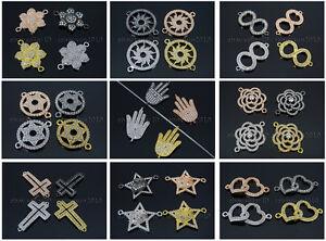 Clear-Zircon-Gemstones-Pave-Bracelet-Connector-Charm-Beads-Silver-Gold-Gunmetal