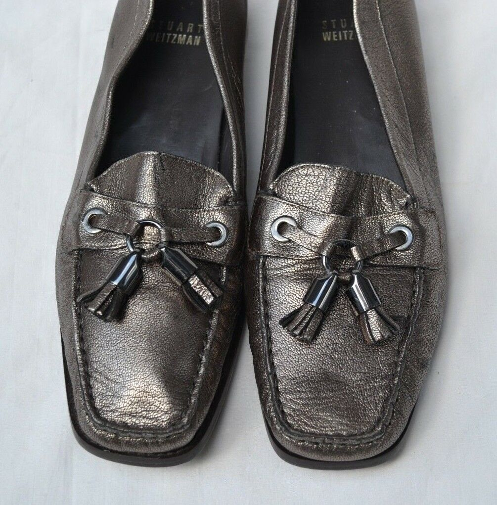 STUART WEITZMAN AUTH $399 Women's Bronze Leather Front Tassel Loafer Shoes Sz 8