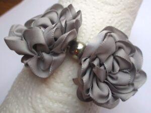 Uni Bracelet Bijou Fantaisie Extensible Fleurs Tissus Parme Gris Perle Cristal 2355 CoûT ModéRé