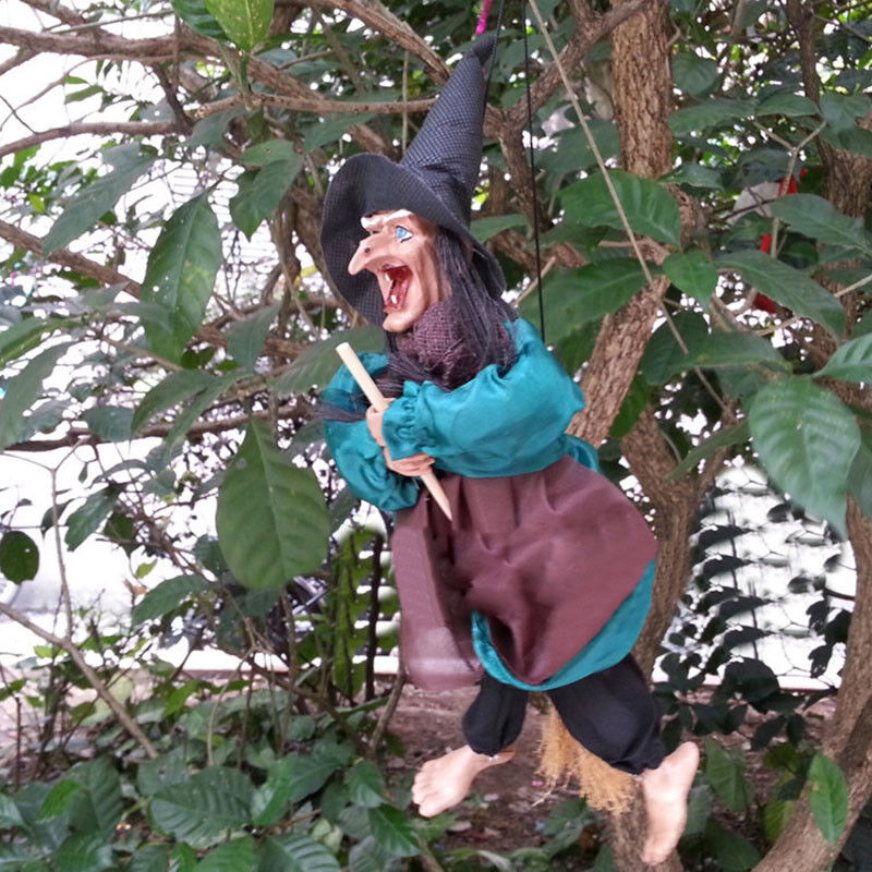 """12""""Halloween Hanging Animated Talking Witch Props Laughing Sound Control Decor E 6"""