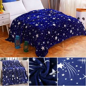 Stars-Galxy-Blanket-Blue-Flannel-Sofa-Warm-Bed-Blanket-Throws-Winter-Bed-Sheet