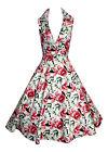 LADIES 1940'S 1950'S VINTAGE STYLE LILLIES FLORAL PRINT TEA DRESS NEW 8 - 18