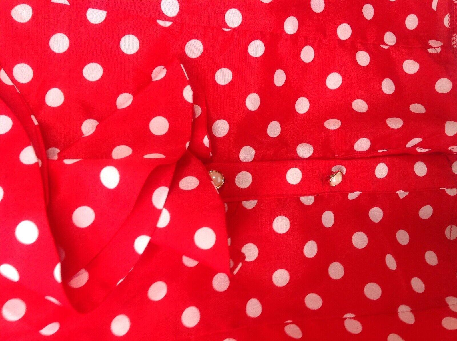 Vintage Red White Polka Dot High Neck Ruffle Blou… - image 4