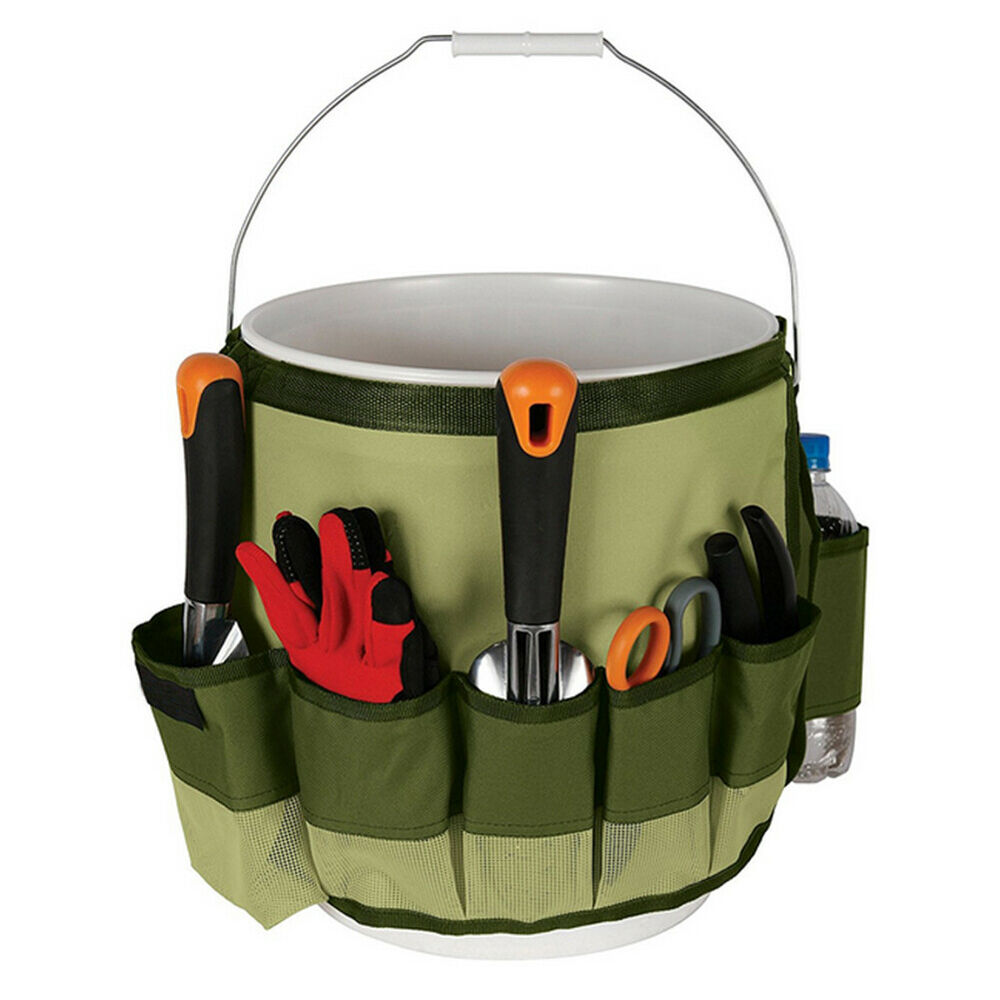 US Multi Pockets Gardening Tools Kit Storage Bucket Bag Handbag Holder Organizer Home & Garden