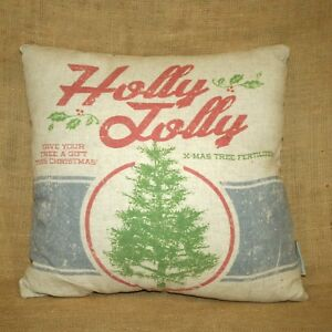 Holly-Jolly-Christmas-Tree-Fertilizer-Throw-Pillow-2-Sided-Primitives-by-Kathy