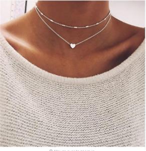 Simple-Double-Layers-Chain-Heart-Pendant-Necklace-Choker-Fashion-Women-Jewelry