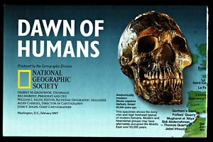 ⫸ 1997-2 February DAWN OF HUMANS National Geographic Map Evolution of Man B XQ