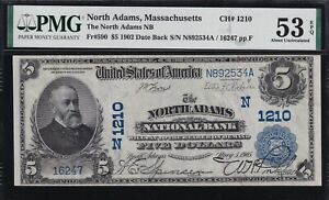 1902 DB $5 national bank note NORTH ADAMS, MA. One of the finest known!