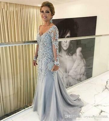 New Plus Size Mother Of The Bride Dresses V Neck Long Sleeves Lace Evening  Gowns | eBay