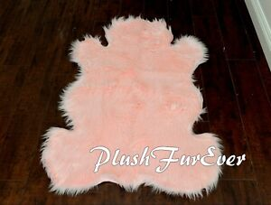 Details About 3 X 5 Baby Pink Cute Teddy Bear Shape Luxury Shaggy Plush Nursery Fur Area Rug