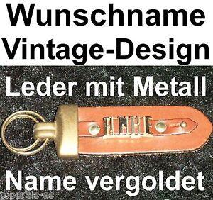Sonstige Vornehm SchlÜsselanhÄnger Anke Vintage Leder Metall Wunschname Name Vergoldet Name Neu