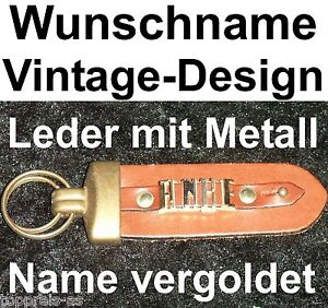 Vornehm SchlÜsselanhÄnger Anke Vintage Leder Metall Wunschname Name Vergoldet Name Neu Büro & Schreibwaren