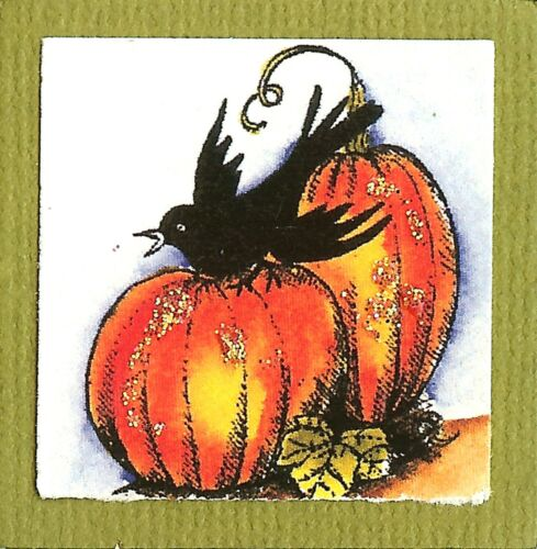 THANKSGIVING Small Crow Pumpkins Wood Mounted Rubber Stamp NORTHWOODS B9840 New