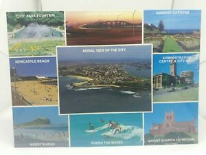 Vintage-Postcard-Multiview-Newcastle-New-South-Wales-Surfing-Aerial-View