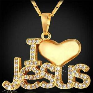 Pendant-I-Love-Jesus-Necklace-Jewelry-Chain-Silver-Charm-Christian-Heart-Cross-H
