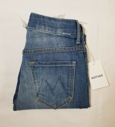 NWT Mother Denim High Waisted Looker Ankle Fray Jumping Off Swings 24~26 $228