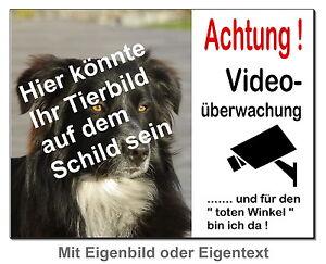 Eigenbild-hund-alu-schild-15x10 B.30x20 Cm Dick-türschild-alarm-video-warnschild Dekoration