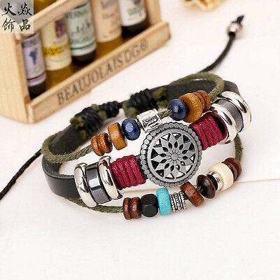 Newly Black Leather Adjustable Faith Bracelet Handmade Jewelry Cuff Women/Men`s