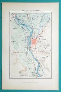 1892 LITHOGRAPH MAP   CAIRO & Environs Africa Memphis Giza