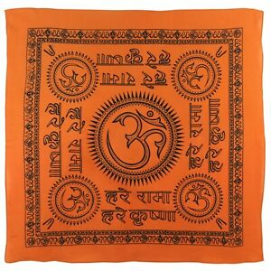 "Kleidung & Accessoires Humor Large Orange Om Aum Bandana/bandanna Hindi Scarf Chakra Hindu Buddhist 24""x24"" Angenehm Im Nachgeschmack"