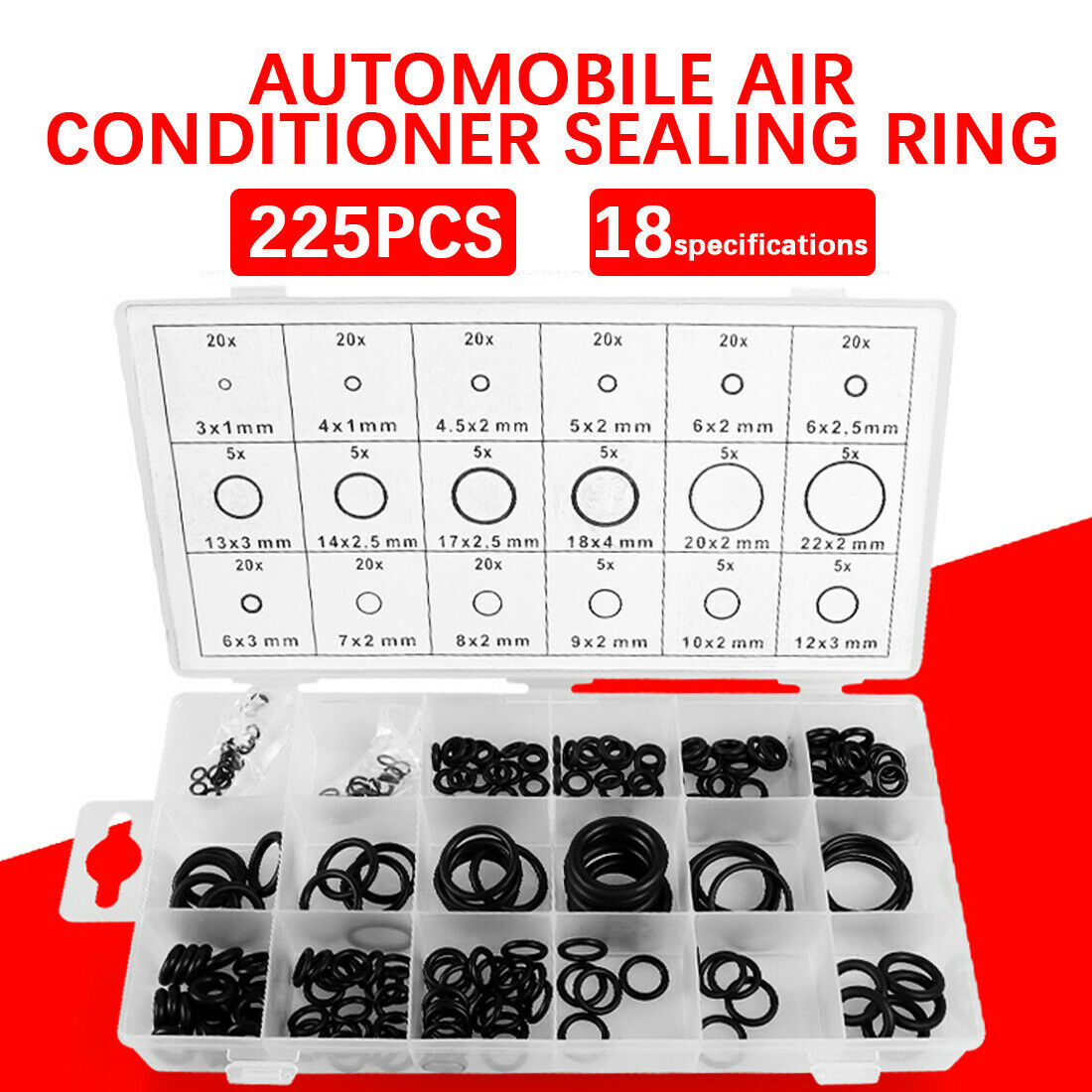 LuckyMAO O Rings 225pcs//lot Rubber O-Ring Gasket Assortment Kit SAE Plumbing Auto Hydraulics HVAC Gas with Re-sealable Plastic Case
