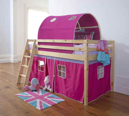 Cabin Bed Mid Sleeper Kids Bed with Tunnel and Tent in Choice of Colours