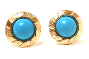 9ct-Gold-Turquoise-Studs-Round-earrings-Made-in-UK-Gift-Boxed-Christmas