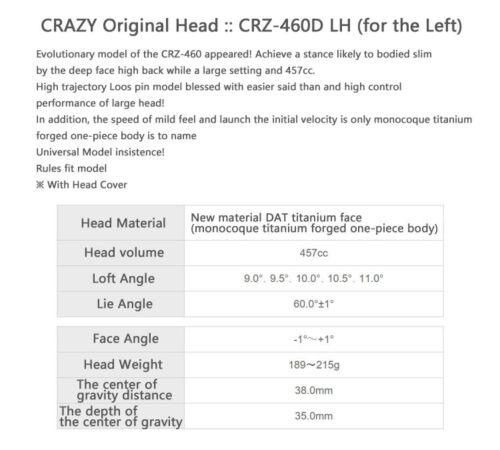 LEFTY-CRAZY-GOLF-JAPAN-ORIGINAL-HEAD-PARTS-CRZ-460-D-LH-LEFTY-DRIVER