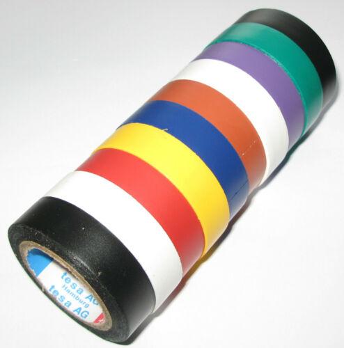 10x Tesa PVC Bande Isolante 4252 Kfz Coloré 15mm X 10m Set 6000V Iso Tva B-Ware