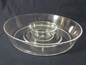 Clear Plastic Chips and Salsa or Chip and Dip Bowl Well in Center Party