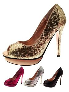 c080c25b3c4 Womens Peep Toe High Heels Sparkly Glitter Stiletto Platforms Court ...