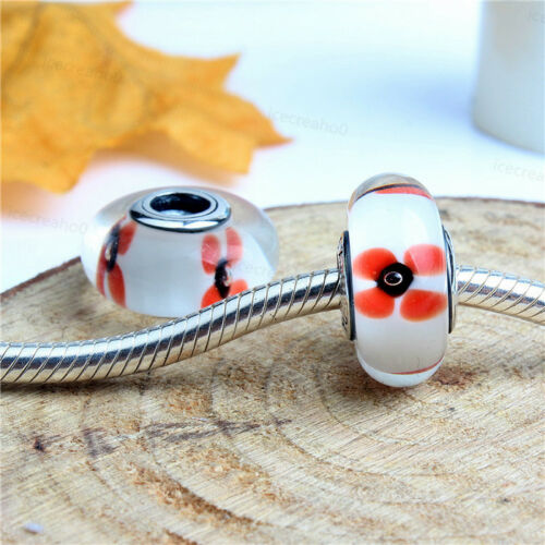 925 New Sterling Murano Silver Charms Glass Bead For European Bracelet Chain
