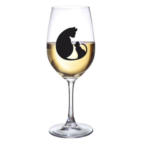 CATS KITTEN VINYL STICKERS FOR WINE GLASS X 6