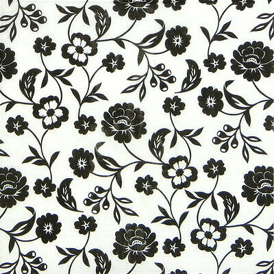 4x Paper Napkins - Flowers Black & white - for Party, Decoupage Craft