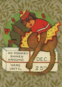 ANTIQUE-MONKEY-WREATH-PRESENT-CHRISTMAS-STICKER-SMALL-ART-COLOR-ACEO-SIZE-PRINT