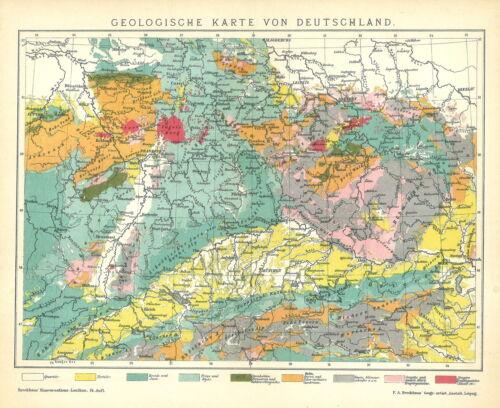 B14 Alte historische Landkarte 1894 Geologische Karte von Deutschland.