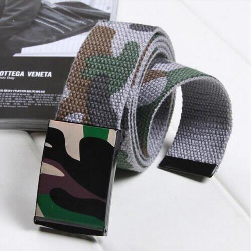 Unisex Military Men Women Buckle Camouflage Waist Belt Canvas Fabric Waistband