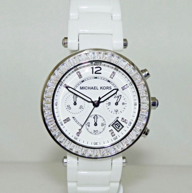335af54e3 Michael Kors Women's MK5848 Chronograph Parker White Glitz Ceramic 39 mm  Watch