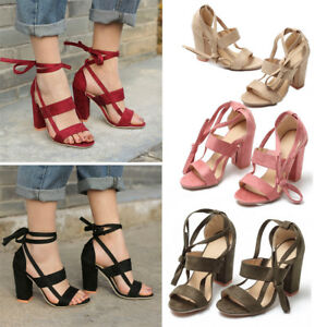 f39d10cecb7e Women s Sandals Strappy High Heels Thick Heels Bridal Evening Party ...