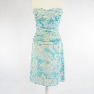 4d1bd9156027c Light blue white floral print 100% silk KAY UNGER sleeveless sheath ...