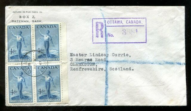 p953 - OTTAWA 1947 Citizen Block of 4 on Registered Cover to Scotland