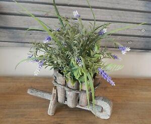 RUSTIC-WOOD-WHEELBARROW-FAUX-TOPIARY-PLANTS-FLOWERS-ORNAMENT-DISPLAY