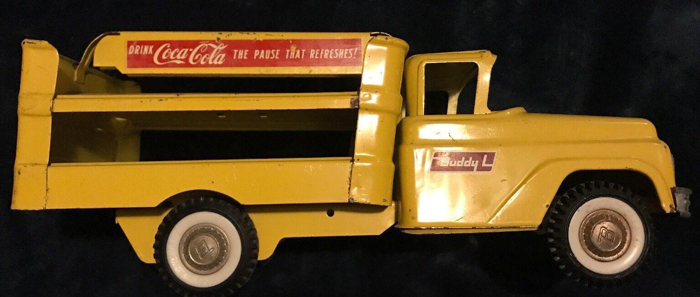 Buddy-l De Colección Década de 1950 Acero Prensado Coca Cola giallo y rosso juguete camión de reparto