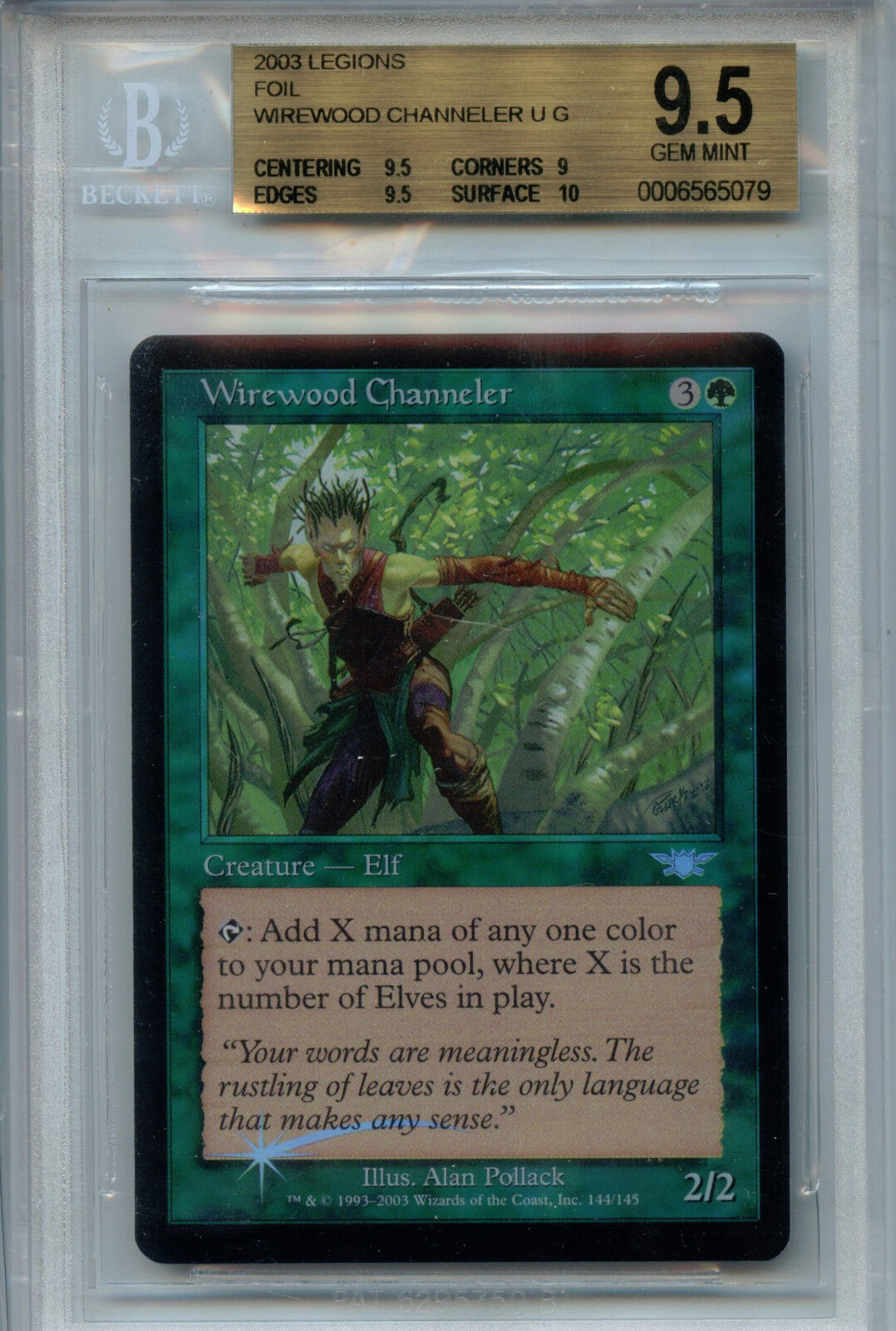 MTG Wirewood Channeler BGS 9.5 9.5 9.5 Gem Mint Legions Foil Magic Card Amricons 5079 cde5d5