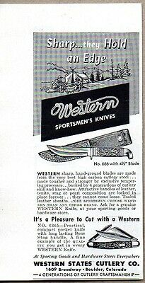1954 Print Ad Western Cutlery Sportsmens Knives Pocket Knife Boulder,CO