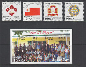Tonga-Sc-1180-1184-MNH-2012-ANZAC-Day-cplt-set-including-souvenir-sheet-VF